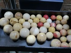 A GROUP OF FORTY THREE VARIOUS 19TH.C.IVORY BILLIARD BALLS.