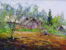 ALEXANDER KOLOTILOV (B.1946) RUSSIAN,SPRINGTIME IN THE VEGETABLE GARDEN WITH LADY AND CHICKENS,