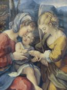 AFTER CORREGGIO, THE MYSTIC MARRIAGE OF ST CATHERINE OF ALEXANDRIA, WATERCOLOUR, 28 X 22.5CM.