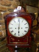 A LATE GEORGIAN BRACKET CLOCK SIGNED UNTHANK, STOKESLEY TO THE PAINTED DIAL, STRIKING TWO TRAIN