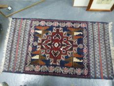 FIVE PERSIAN AND OTHER ORIENTAL TRIBAL MATS (5)