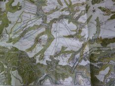 AN 18TH.C.FRENCH HAND COLOURED MILITARY MAP OF THE BATTLE OF FLEURUS JULY 1ST. 1690, LARGE FOLIO,
