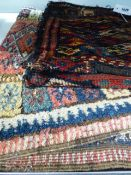 AN ANTIQUE TURKISH TRIBAL MAT AND A SIMILAR TRIBAL BAG WITH TWIN FACES. (2)