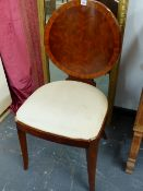 A CONTINENTAL ART DECO STYLE WALNUT SIDE CHAIR.