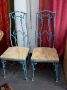 A SET OF FOUR ALUMINIUM HIGH BACK CHAIRS IN THE CHINOISERIE AESTHETIC TASTE.