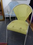 A PAIR OF MID 20TH.CENTURY IRON CAFE CHAIRS.