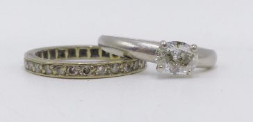 A WHITE METAL DIAMOND SET FULL ETERNITY RING (FINGER SIZE K) TOGETHER WITH A PLATINUM HALLMARKED
