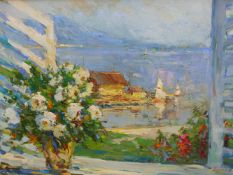 ALEXANDER KOLOTILOV (B.1946) RUSSIAN,SEA VIEW WITH YACHTS AND FLOWERS, SIGNED, OIL ON CANVAS,