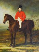 ENGLISH SCHOOL, PORTRAIT OF A HUNTSMAN ON A BAY HORSE.