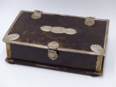 AN ANTHEMION DECORATIVE DESIGN WHITE METAL CORNER BOUND TORTOISE SHELL HINGED BOX WITH HINGED