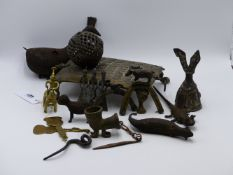 AN ANTIQUE BRASS TRIBAL COCONUT OR SPICE GRATER TOGETHER WITH VARIOUS AFRICAN, BENIN BRONZE ANIMAL