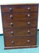 A VICTORIAN MAHOGANY FIVE DRAWER SMALL CHEST WITH MOULDED EDGE TOP AND PLINTH BASE. W.70cms x D.
