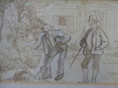 CHARLES KEENE (1823-1891) A COMIC GARDENING SCENE, INK DRAWING, INITIALLED. 10.5 x 36cms.