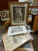 F.BARTOTZI, AFTER CORREGIO,CUPID MAKING HIS BOW, ENGRAVING, TWO PRINTS OF OXFORD COLLEGES (UNFRAMED)