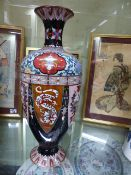 A LARGE JAPANESE CLOISONNE VASE DECORATED WITH ALTERNATING PANELS OF DRAGONS AND PHOENIX BIRDS. H.