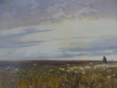 STANLEY INCHBOLD (1856-1919) A MOORLAND SCENE, SIGNED WATERCOLOUR. 25.5 x 30.5cms.