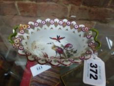 A CHELSEA RED ANCHOR SMALL TWO HANDLED BASKET THE INTERIOR PAINTED WITH BIRDS. 10.5 x 5cms.