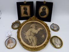 A COLLECTIVE LOT OF MINIATURES TO INCLUDE TWO SILHOUETTES, THREE OVAL WATERCOLOUR PORTRAITS , SOME