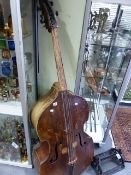 AN INTERESTING ANTIQUE DOUBLE BASS FOR RESTORATION.