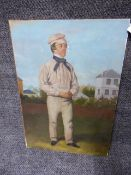 ENGLISH SCHOOL. A PORTRAIT OF A VICTORIAN CRICKETER, OIL ON CANVAS LAID ON BOARD. 51 x 36cms.