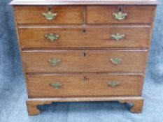 A GEO.III.MAHOGANY CHEST OF TWO SHORT AND THREE LONG GRADUATED DRAWERS ON BRACKET FEET. W.95cms.