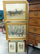 TWO VINTAGE HAND COLOURED PHOTOGRAPHS OF COACHING SCENES AND TWO 19th.C.FRENCH PRINTS OF GENTLEMAN'S