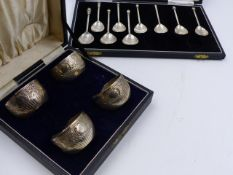 A CASED SET OF FOUR SILVER TABLE SALTS, LONDON 1879 AND NINE SILVER TEASPOONS, c. 1960'S. ASSORTED