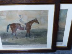 A PAIR OF ANTIQUE HAND COLOURED FOLIO PRINTS OF RACEHORSES WITH JOCKEYS IN GILT LINED OAK FRAMES. 55