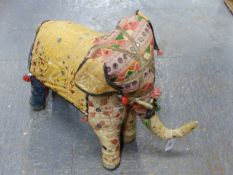 A NORTHERN INDIAN SEWN TEXTILE ELEPHANT.