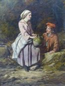 19th.C.ENGLISH SCHOOL, A BOY AND GIRL BY A WELL, INITIALLED D.S. OIL ON CANVAS. 36 x 26cms.