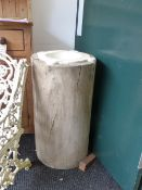 AN ANTIQUE LARGE MARBLE MORTAR WITH FOUR LUGS, FITTED CIRCULAR TRUNK FORM RUSTIC BASE. OVERALL DIA.