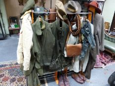 A GROUP OF SPORTING TWEED AND OTHER CLOTHING, GAME BAG,CARTRIDGE BAG AND BELT,ETC