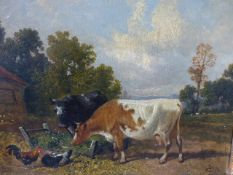 C.J.LEWIS (ENGLISH 19th.C.) A FARMYARD WITH CATTLE AND CHICKENS INITIALLED OIL ON CANVAS. 21 x