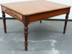 AN MID VICTORIAN MAHOGANY LIBRARY TABLE WITH TWO END DRAWERS ON TURNED LEGS. 137x107cms