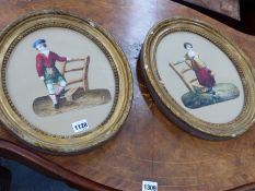MID 19th.C. ENGLISH/SCOTTISH SCHOOL. A PAIR OF PORTRAITS OF A RUSTIC SCOTTISH LAD AND LASS,