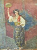 19th.C.ITALIAN SCHOOL. THE EASTERN TAMBOURINE PLAYER,SIGNED INDISTINCTLY. WATERCOLOUR. 54 x 36cms.