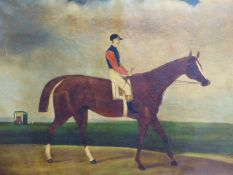 ENGLISH NAIVE SCHOOL. PORTAIT OF A RACEHORSE AND JOCKEY, OIL ON CANVAS. 62 x 92cms.