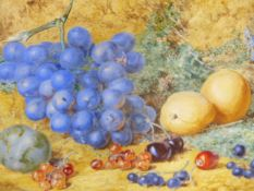 T.F.COLLIER ( 1840-1891) A STILL LIFE OF FRUIT SIGNED WATERCOLOUR. 19 x 28cms.
