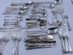 A LARGE COLLECTION OF VARIOUS SILVER HALLMARKED FLATWARE. DATES TO INCLUDE 1803,1817,1826 ETC. TOTAL