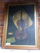 A 19th.C. TROMPE L'OEIL STUDY OF VIOLIN , VIOLIN BOW AND MUSIC SHEET. OIL ON CANVAS. approx.76 x