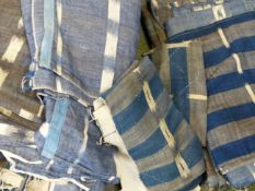 A RARE QTY OF EARLY FRENCH IKAT WOVEN FABRIC ON BLUE GROUND.