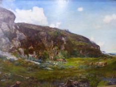 JOHN REED MURRAY (1861-1906) CATTLE GRAZING BY COASTAL CLIFFS, A SIGNED AND DATED OIL ON CANVAS.