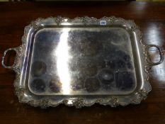 A MID 19th.C.SHEFFIELD PLATED TWO HANDLED SERVING TRAY WITH STYLISED VINE BORDER. 61x46cms.