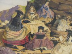FOUR DECORATIVE COLOUR PRINTS OF VICTORIAN PASTIMES AFTER JOHN LEECH IN GILT FRAMES.