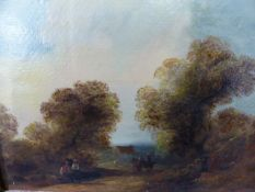 19th.C.ENGLISH SCHOOL A PAIR OF RURAL SCENES WITH FOREGROUND FIGURES. OIL ON BOARD INSCRIBED ON