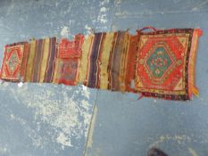 AN ANTIQUE TURKISH TRIBAL SADDLE BAG/HORSE TRAPPING.