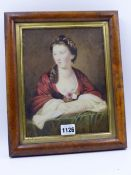 18th/19th.C.ENGLISH SCHOOL A PORTRAIT OF A LADY, WATERCOLOUR IN BURR MAPLE FRAME. 24x18.5cms.