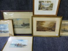 A GROUP OF SIX 19th.C.LANDSCAPES AND SEASCAPES OF VARYING SIZE.