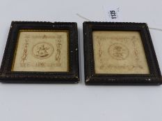 19th.C.ITALIAN SCHOOL, TWO MINIATURE PEN AND INK DRAWINGS OF NEO CLASSICAL FIGURE SUBJECTS. 9x9cms.
