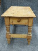 AN ANTIQUE PINE KITCHEN OR SCULLERY TABLE WITH END DRAWER. 155cms x 80cms x 84cms.